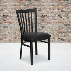Black School House Back Metal Restaurant Chair with Black Vinyl Seat