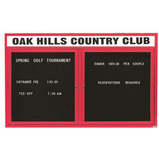 2 Door Outdoor Enclosed Directory Board with Header and Red Anodized Aluminum Frame - 36