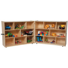 Wooden 16 Compartment Double Folding Mobile Storage Unit - 96