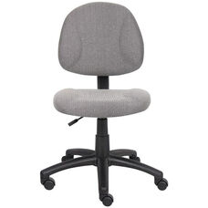 Deluxe Thick Padded Armless Task Chair with Lumbar Support and Nylon Base - Grey
