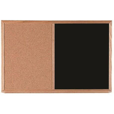 Wood Frame Combination Board with Natural Pebble Grain Cork Bulletin Board and Black Chalkboard