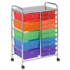 15 Drawer Mobile Organizer with Chrome-Plated Top Shelf and Assorted Colors Pullout Drawers