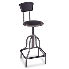 Safco® Diesel Series Industrial Stool w/Back - High Base - Pewter Leather Seat/Back Pad
