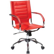 Ave Six Trinidad Vinyl Contoured Seat Office Chair with Chrome Base and Casters - Red