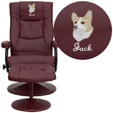 Embroidered Contemporary Burgundy Leather Recliner and Ottoman with Leather Wrapped Base