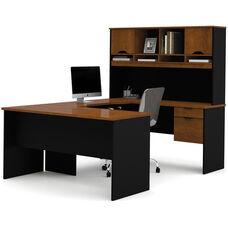 Innova U-Shaped Workstation Kit - Tuscany Brown and Black