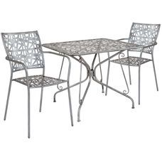 "Agostina Series 35.25"" Square Antique Silver Indoor-Outdoor Steel Patio Table with 2 Stack Chairs"