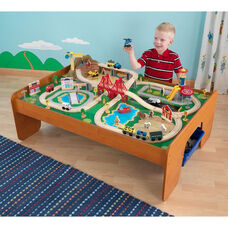 Kids Wooden Ride Around Town Train Set and Table with Two Storage Tubs Includes 100 Pieces