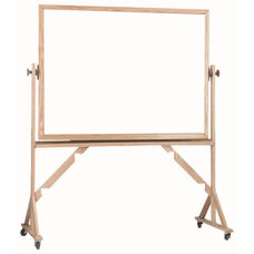 Reversible Free Standing Melamine White Marker Board with Red Oak Frame
