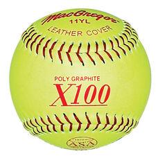 ASA Approved Fast Pitch Yellow Leather Softballs - 1 Dozen