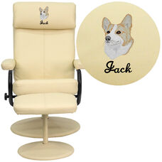 Embroidered Contemporary Multi-Position Headrest Recliner and Ottoman with Wrapped Base in Cream Leather