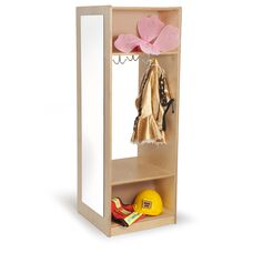 Kids Dress-Up Wardrobe with Full-Length Acrylic Mirror and Storage Hooks