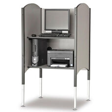 45.5''H to 57.5''H Adjustable Kiosk Carrel with Printer Shelf - Grey Nebula