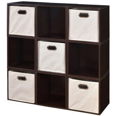 Niche Cubo Wooden Storage Case - Set of 9 Cubes and 5 Canvas Bins - Truffle