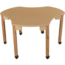 Mobile Synergy Classroom High Pressure Laminate Group Table with Hardwood Legs - 48