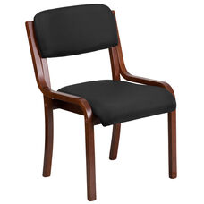 Contemporary Walnut Wood Side Reception Chair with Black Fabric Seat
