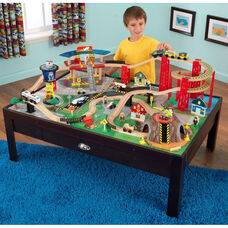 Kids Wooden Train Table and Airport Express Train Set with Two Drawers for Storage Includes 100 Pieces