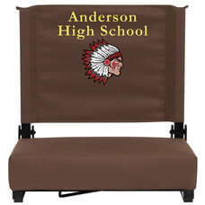 Embroidered Grandstand Comfort Seats by Flash with Ultra-Padded Seat in Brown