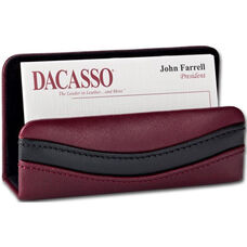 Classic Two Tone Leather Business Card Holder - Burgundy and Black