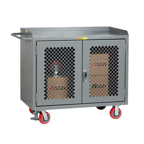 Our Mobile 2 Door Bench Cabinet with Perforated Doors with Lipped Top - 24