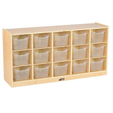 Birch 15 Cubby Tray Cabinet with 15 Clear Bins - 48
