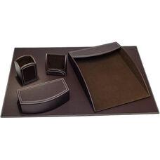 Colors Faux Leather 5 Piece Office Organizing Desk Set - Espresso Brown