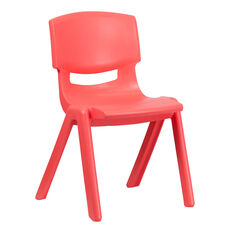 Red Plastic Stackable School Chair with 15.5