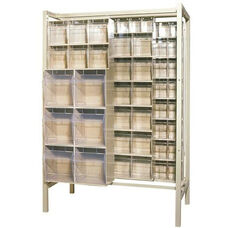 Free Standing Slider System with 28 Bins - Ivory