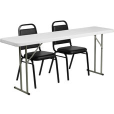 6-Foot Plastic Folding Training Table Set with 2 Trapezoidal Back Stack Chairs