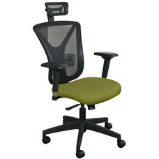 Fermata Executive Mesh Chair with Black Base and Headrest - Fennel Fabric