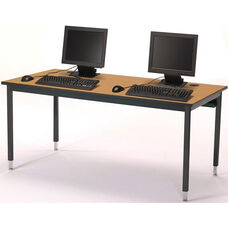 Rectangular Adjustable Height Laminate Top Computer Table with Black Legs - 60