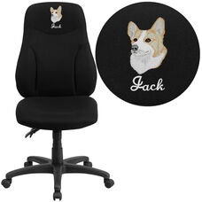 Embroidered High Back Black Fabric Multifunction Ergonomic Swivel Task Chair