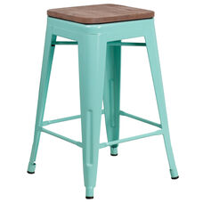 """24"""" High Backless Mint Green Counter Height Stool with Square Wood Seat"""