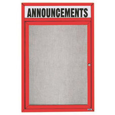 1 Door Outdoor Enclosed Bulletin Board with Header and Red Powder Coated Aluminum Frame - 24