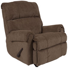 Contemporary Kelly Bark Super Soft Microfiber Rocker Recliner