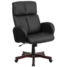 High Back Black Leather Executive Swivel Chair with Fully Upholstered Arms