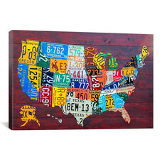 License Plate Map USA by David Bowman Gallery Wrapped Canvas Artwork