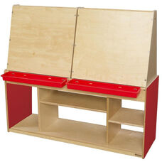 Strawberry Red Stationary Art Center for Four with Ample Storage Underneath - 50