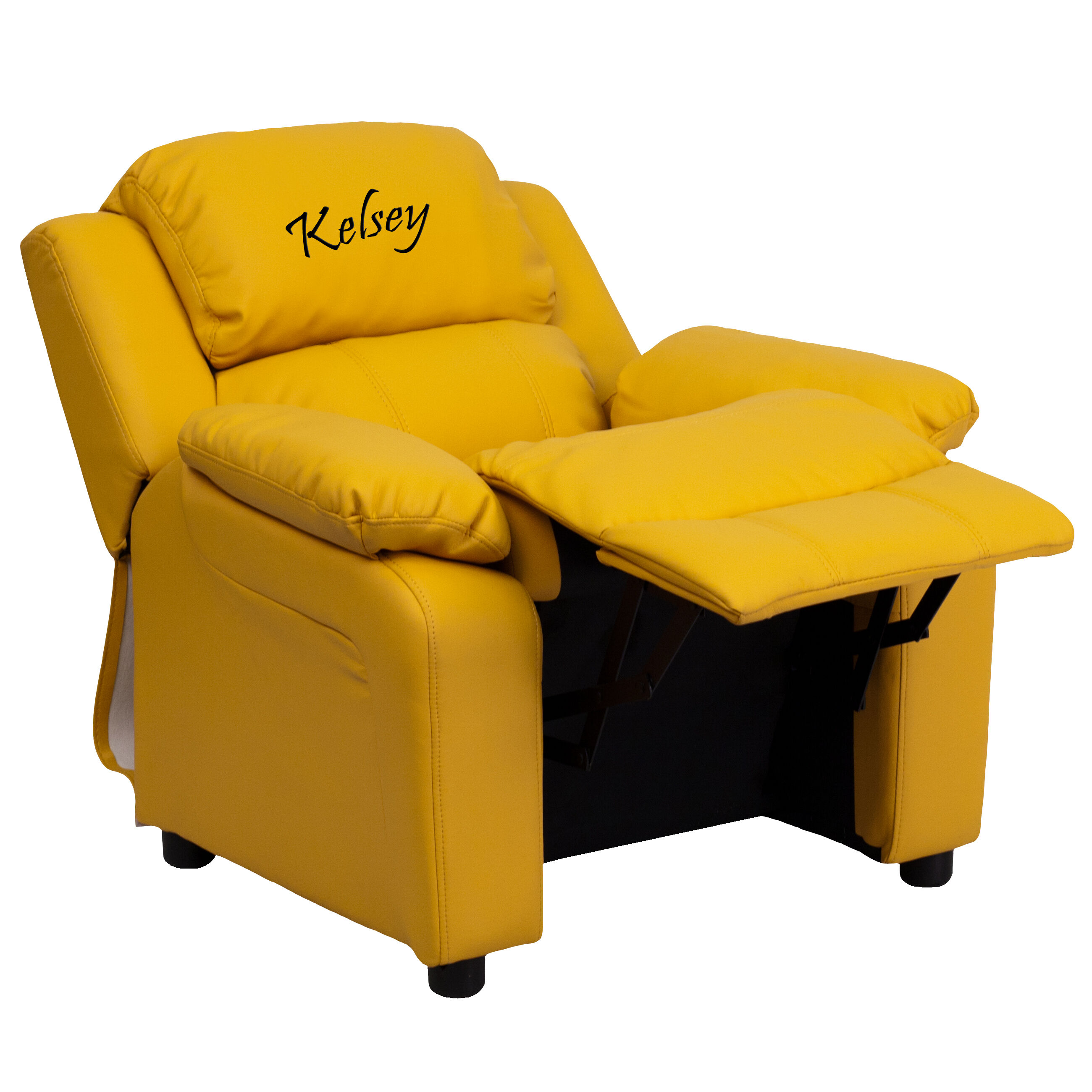 Our Personalized Deluxe Padded Yellow Vinyl Kids Recliner With Storage Arms  Is On Sale Now.