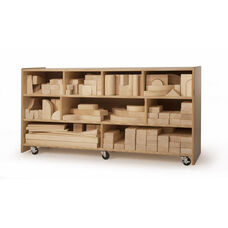 170 Piece Hardwood Quarter School Block Set with Rounded Edges and Natural Wood Finish