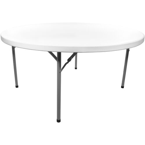 Advantage 6 ft. Round White Plastic Folding Table