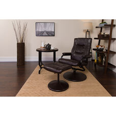 Contemporary Multi-Position Recliner and Ottoman with Wrapped Base in Brown Leather
