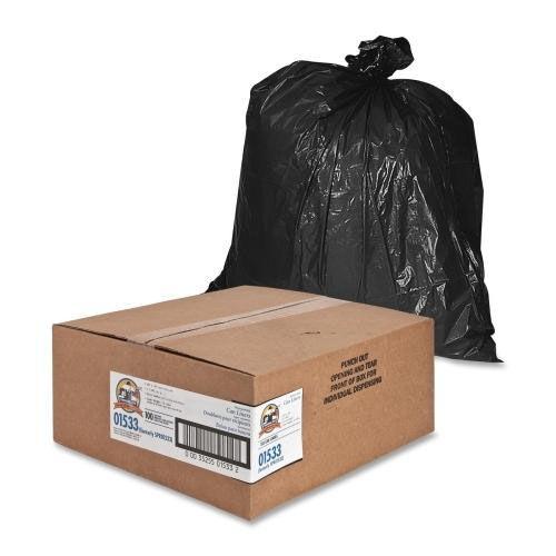 Genuine Joe Heavy -Duty Trash Bags - 1.5 Mil - 31 -33 Gallon - 100 per Box - Black
