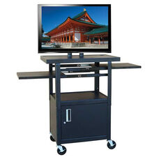 Black Height Adjustable Wide Body Flat Panel TV Cart with One Door Locking Cabinet and Two Pull-Out Side Shelves - 24
