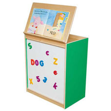 Green Apple Big Book Display and Storage with Locking Piano Hinged Top with Magnetic Marker Board on Front - Assembled - 24