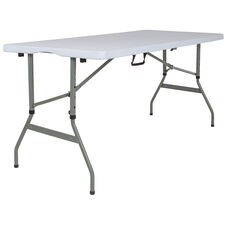 "30""W x 60""L Height Adjustable Bi-Fold Granite White Plastic Banquet and Event Folding Table with Carrying Handle"