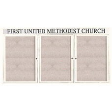 3 Door Outdoor Illuminated Enclosed Bulletin Board with Header and White Powder Coated Aluminum Frame - 36