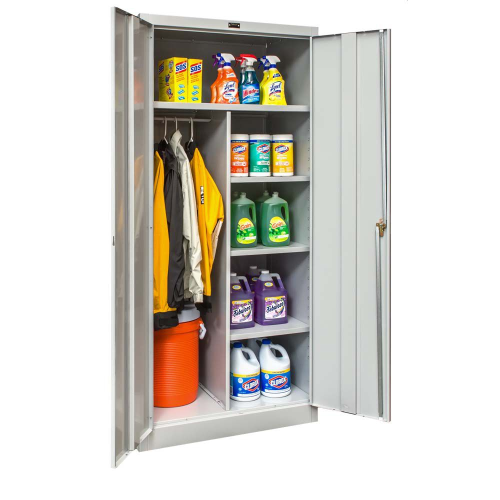 800 Series Antimicrobial One Wide Single Tier Double Door Combination  Cabinet   Unassembled   Light Gray