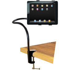 Black Table Mounted Bendable Gooseneck iPad/Tablet Table Stand with Adjustable C-Clamp - 11