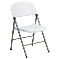 HERCULES Series 330 lb. Capacity White Plastic Folding Chair with Gray Frame